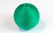 Round, 21mm, Wood, Cotton, Emerald Green beads, WRAPPED & CROCHET BEADS