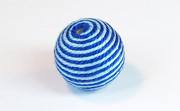 Round, 16mm, Wood, Cotton, Sky Blue & Royal Blue  beads, WRAPPED & CROCHET BEADS