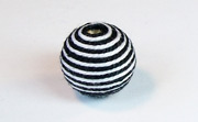 Round, 16mm, Wood, Cotton, White & Black  beads, WRAPPED & CROCHET BEADS