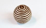 Round, 16mm, Wood, Cotton, Brown & Cream  beads, WRAPPED & CROCHET BEADS