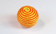 Round, 16mm, Wood, Cotton, Tangerine & Gold  beads, WRAPPED & CROCHET BEADS