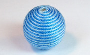Round, 21mm, Wood, Cotton, Copen Blue & Sky Blue beads, WRAPPED & CROCHET BEADS