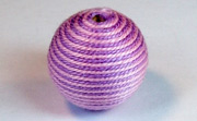 Round, 21mm, Wood, Cotton, Light Lavender & Pale Rose  beads, WRAPPED & CROCHET BEADS