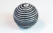 Round, 21mm, Wood, Cotton, White & Black  beads, WRAPPED & CROCHET BEADS