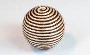 Round, 21mm, Wood, Cotton, Brown & Cream  beads, WRAPPED & CROCHET BEADS