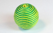 Round, 21mm, Wood, Cotton, Emerald Green & Yellow Green  beads, WRAPPED & CROCHET BEADS