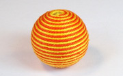Round, 21mm, Wood, Cotton, Tangerine & Gold  beads, WRAPPED & CROCHET BEADS
