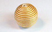 Round, 21mm, Wood, Cotton, Cream & Mustard  beads, WRAPPED & CROCHET BEADS