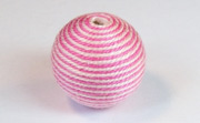 Round, 21mm, Wood, Cotton, Baby Pink & Medium Pink  beads, WRAPPED & CROCHET BEADS