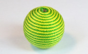 Round, 21mm, Wood, Cotton, Yellow Green & Grass Green  beads, WRAPPED & CROCHET BEADS
