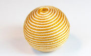 Round, 26mm, Wood, Cotton, Cream & Mustard  beads, WRAPPED & CROCHET BEADS