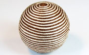 Round, 31mm, Wood, Cotton, Cream & Brown  beads, WRAPPED & CROCHET BEADS