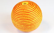 Round, 31mm, Wood, Cotton, Gold & Tangerine  beads, WRAPPED & CROCHET BEADS