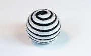 Round, 16mm, Wood, Cotton, White & Black & Light Grey  beads, WRAPPED & CROCHET BEADS