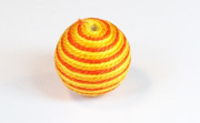 Round, 16mm, Wood, Cotton, Gold & Tangerine & Golden Yellow  beads, WRAPPED & CROCHET BEADS