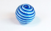 Round, 16mm, Wood, Cotton, Sky Blue & Copen Blue & Royal Blue  beads, WRAPPED & CROCHET BEADS