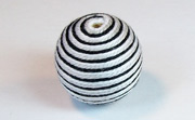Round, 21mm, Wood, Cotton, White & Black & Light Grey  beads, WRAPPED & CROCHET BEADS