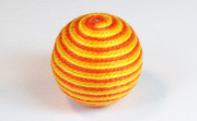 Round, 21mm, Wood, Cotton, Gold & Tangerine & Golden Yellow  beads, WRAPPED & CROCHET BEADS