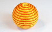 Round, 26mm, Wood, Cotton, Gold & Tangerine & Golden Yellow  beads, WRAPPED & CROCHET BEADS