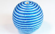 Round, 31mm, Wood, Cotton, Sky Blue & Copen Blue & Royal Blue  beads, WRAPPED & CROCHET BEADS