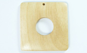 Donut Square, 40/15mm, White Wood beads, EXOTIC WOODEN PENDANTS
