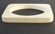 Bangle, Square, 8x(8 to 22)mm, Wood, White beads, WOODEN BANGLES