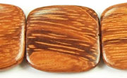 Flat Square, 6x25x25mm, Bayong beads, EXOTIC WOODEN BEADS
