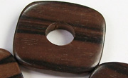 Flat Square, 5x34x34mm, Hole 11mm, Ebony beads, EXOTIC WOODEN BEADS