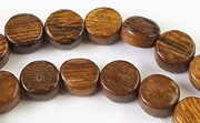 Flat Round, 4x8mm, Robles beads, EXOTIC WOODEN BEADS