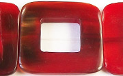 Flat Square, 32mm, 16mm square hole, Red Horn beads, HORN BEADS
