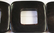 Flat Square, 32mm, 16mm square hole, Black Horn beads, HORN BEADS
