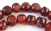3 Faceted, 10mm, Red Horn beads, HORN BEADS