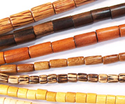 TUBE & HEISHI beads, EXOTIC WOODEN BEADS