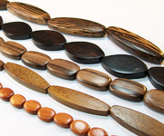 FLAT OVAL beads, EXOTIC WOODEN BEADS