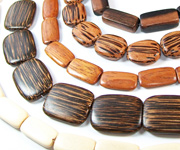FLAT RECTANGLE, SQUARE & TEARDROP beads, EXOTIC WOODEN BEADS