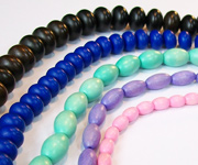 OVAL & MENTHOS beads, DYED WOODEN BEADS
