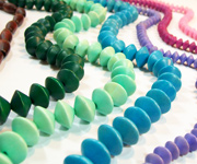 SAUCER & FOOTBALL beads, DYED WOODEN BEADS