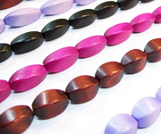 BALIMBING & TWISTED beads, DYED WOODEN BEADS