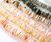 SQUARE CUT beads, TROPICAL SHELL BEADS
