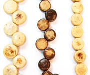 SIDEDRILL & CENTREDRILL beads, NATURAL COCONUT BEADS