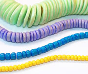 PUCALET / RONDELLE beads, DYED COCONUT BEADS