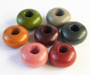 DYED WOODEN BEADS WITHOUT GROMMETS beads, PANDORA STYLE BEADS
