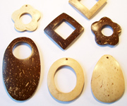 OTHER SHAPES beads, NATURAL COCONUT PENDANTS & PARTS
