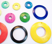 DONUT beads, DYED COCONUT PENDANTS & PARTS